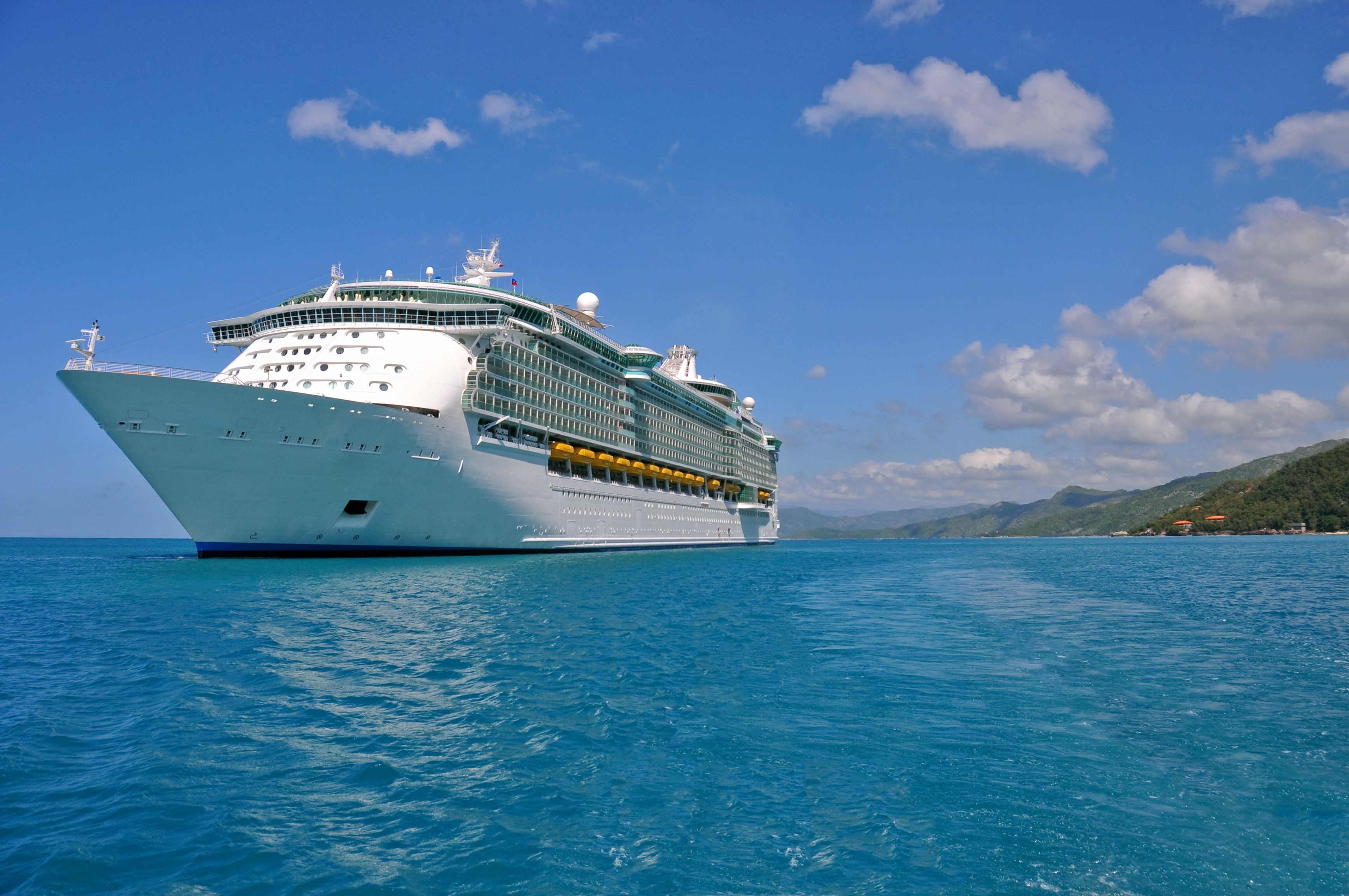 luxury cruise ship in caribbean port